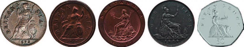 Pièces de : ½ penny 1672 - ½ penny 1777 - 2 pence 1797 - 1 penny 1879 - 50 pence 2007