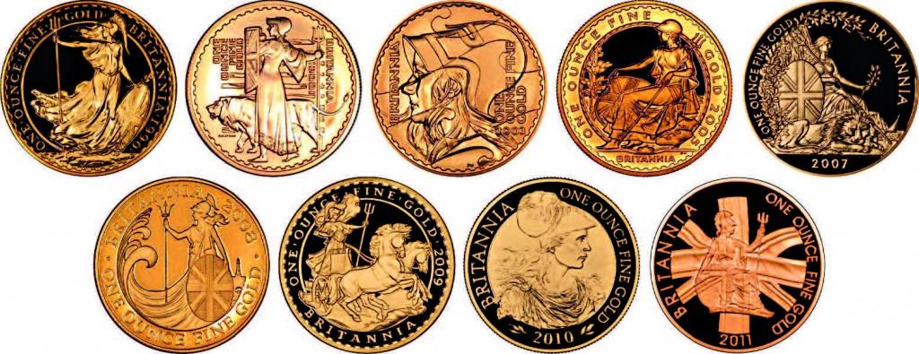 Neuf représentations de Britannia ont été utilisées sur les lingots monétaires britanniques en or depuis 1987