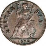 Britannia sur un 1/2 penny de 1672