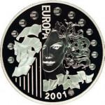 Europa sur la pièce d'argent de 6,55957 francs millésimée 2001