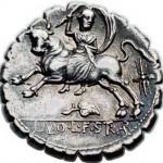 Europa sur un denier romain datant de 81 avant J.-C.