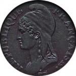 La Marianne d'Augustin Dupré sur une pièce de 5 centimes de l'An 4