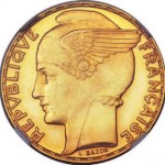 Marianne ailée de Lucien Bazor sur une pièce de 100 francs or 1935.