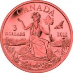 Miss Canada sur une pièce canadienne de 3 dollars en bronze.