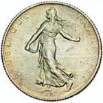 La Semeuse de Roty sur une pièce de 2 francs 1914