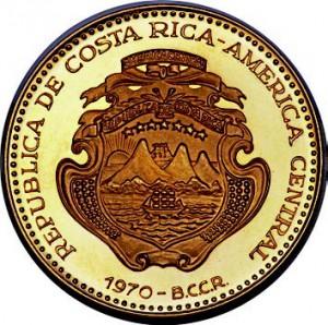 Pièce en or de 1000 colones du Costa Rica, émise en 1970.