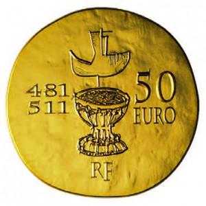 Pièce de 50 euros en or, émise en 2011 par la Monnaie de Paris, à l'effigie de Clovis.