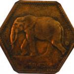 2 francs du Congo Belge millésimée 1943.