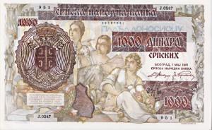 BILLET 1000 DINARA SERBIE 1941