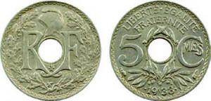 5 centimes Maillechort 1938