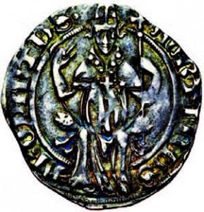 Gros d'argent émis à Avignon sous Martin V (XVe siècle), et représentant le Pape de face ©Jean Elsen / www.elsen.be