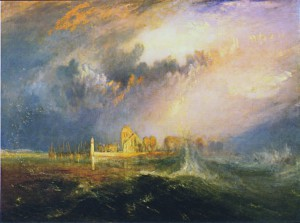 C'est au large de la ville de Quillebeuf-sur-Seine, ici représentée sur cette peinture de Turner, que coula le Télémaque le 3 Janvier 1790