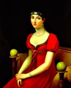Pauline Bonaparte, soeur de Napoléon, représentée ici sur ce tableau de François-Joseph Kinson. Elle vécut sur l'île avec son mari, qui en était le gouverneur
