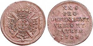 Monnaie du siège de Lille en 1709. Les troupes de Louis XIV sont assiégées dans la ville et des monnaies de 5, 10 et 20 sols sont alors émises