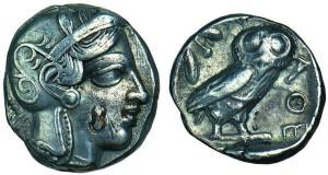 Tetradrachme de Périclès datant du Ve siècle avant Jésus-Christ.