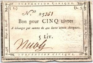 5 LIVRES, SIÈGE DE LYON - SUBVENTION CIVIQUE (23-08-1793)