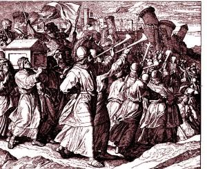 Défilé de l'Arche d'Alliance autour des murs de Jéricho