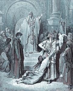 Représentation du célèbre jugement du Roi Salomon, sur cette gravure du XIXe siècle de Gustave Doré