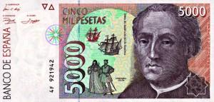 1992. Billet de 5000 pesetas.