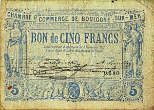 Bon de 5 Francs émis par la Chambre de Commerce de Boulogne-sur-Mer en 1871