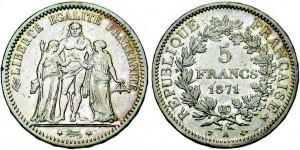 """5 Francs """"Camélinat"""" aussi appelée """"Hercule au trident""""."""
