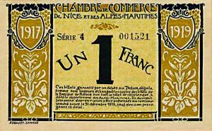 Billet de nécessité de 1 Franc émis par la Chambre de Commerce de Nice