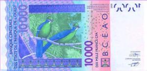 Billet de 10 000 Francs CFA émis par la BCEAO - unions
