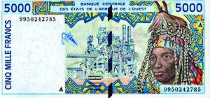Billet de 5000 Francs émis par la BCEAO.