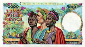 Billet de 5000 Francs émis de 1901 à 1954 par la Banque de l'Afrique Occidentale.