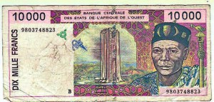 Faux billet de 10.000 Francs CFA