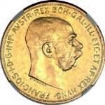 Autriche, 100 couronnes ornée d'un buste, tête nue, de l'empereur François-Joseph Ier.