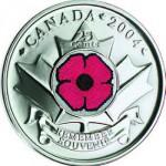 Canada, 25 cents 2004 au coquelicot.