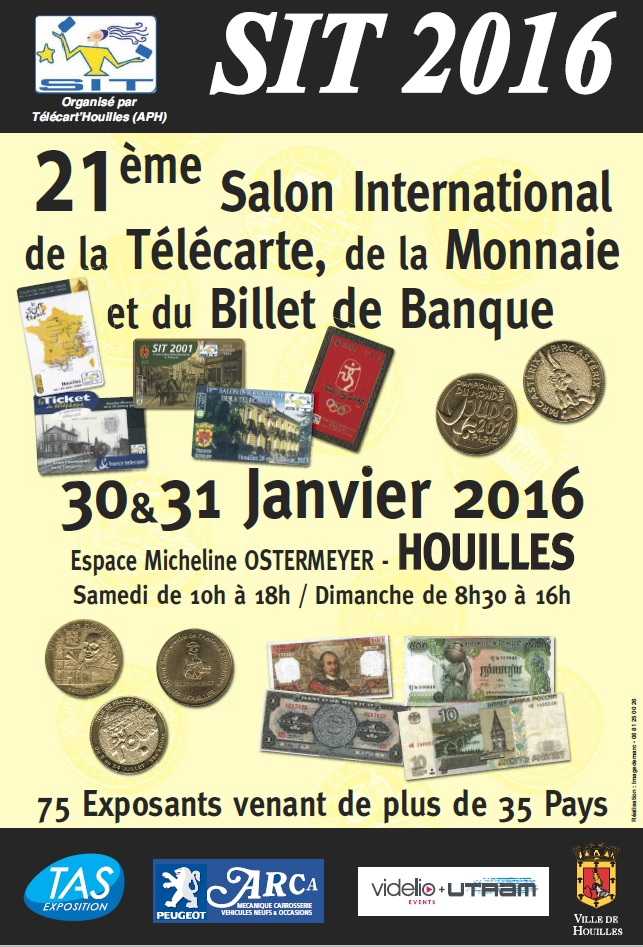 SIT 2016	- 21th International Phonecard & Coins Fair - Houilles - 30 & 31 Janvier 2016