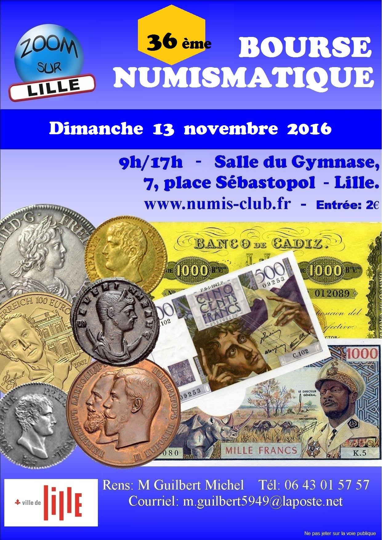 36e Bourse numismatique - Lille - 13/11/16