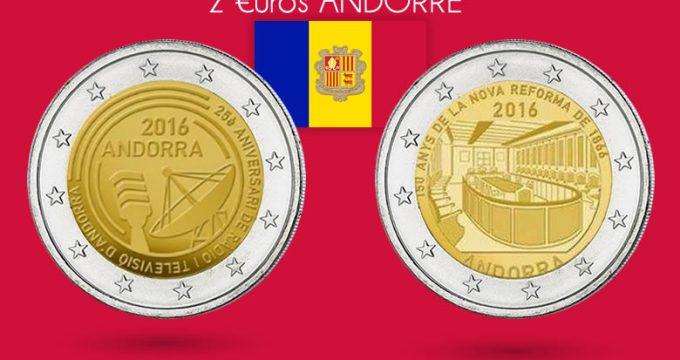 2 nouvelles 2€ Andorre commémoratives 2016