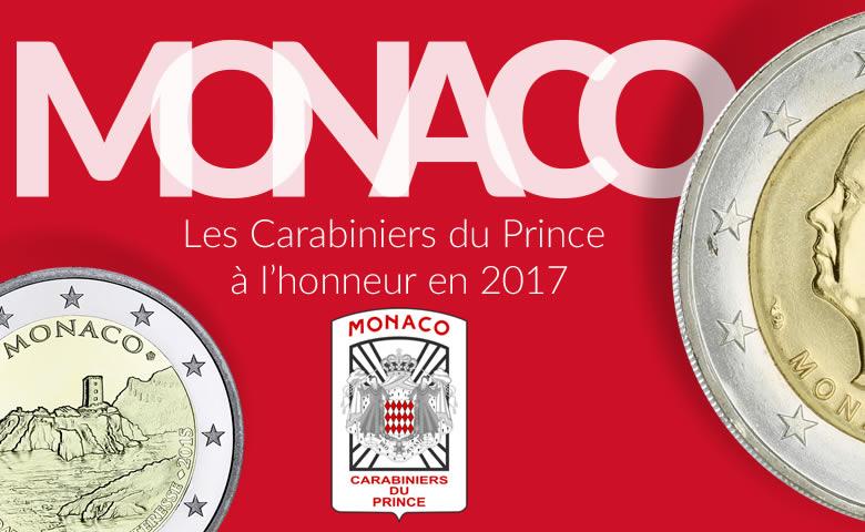 2 euros Monaco 2017, les Carabiniers du Prince à l'honneur.