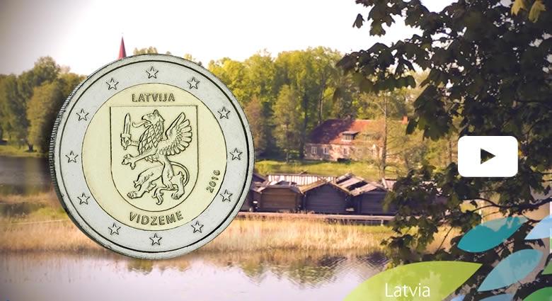 """Lettonie """"La Vidzeme"""" région mise en avant sur la 2 € 2016"""