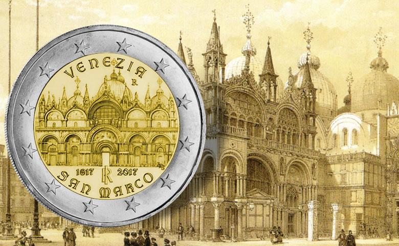 Venise et la basilique Saint Marc sur une pièce de 2 euro