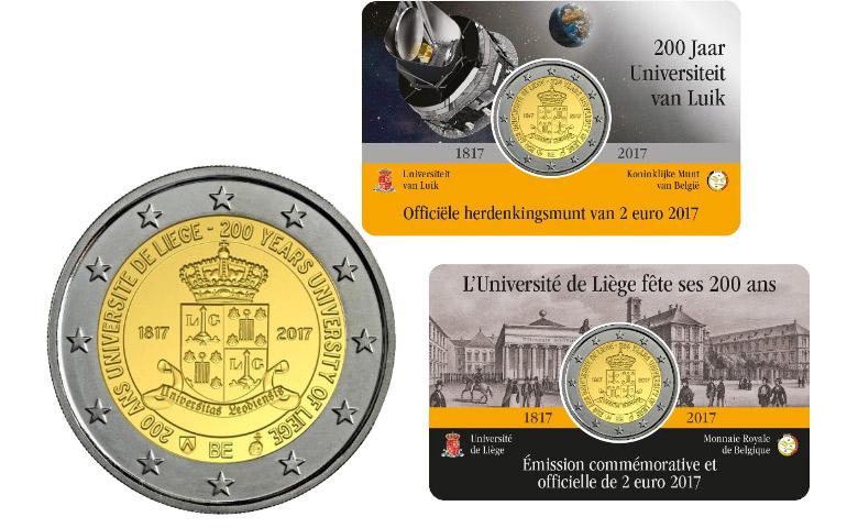 Les 200 ans de l'Université de Liège sur la 2 € Belgique 2017