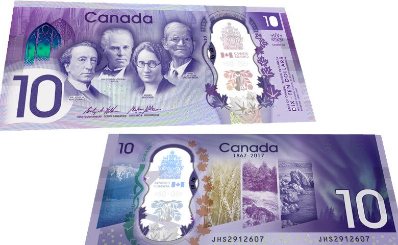 Nouveau billet de 10 $ pour les 150 ans du Canada