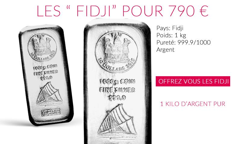 lingot 1 kilo d'argent les Fidji