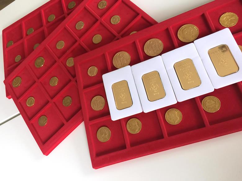 Une malette en or, pièces en or et lingots