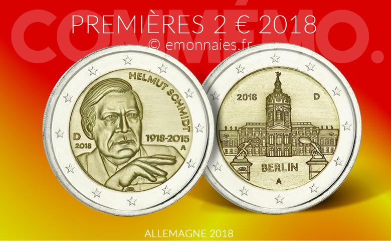 2 Euro Allemagne 2018 Charlottenbourg Et Helmut Schmidt Monnaie