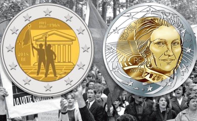 2 euros Simone Veil (France) et Mai 1968 (Belgique)