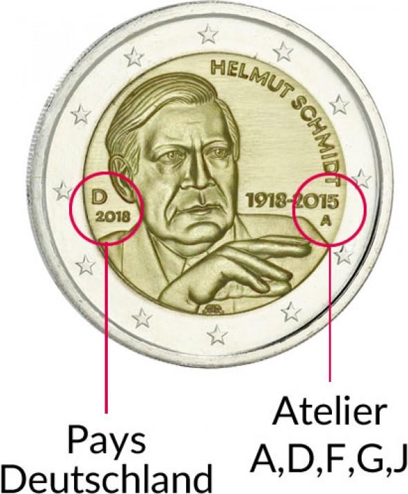 2 euros Allemagne 2018