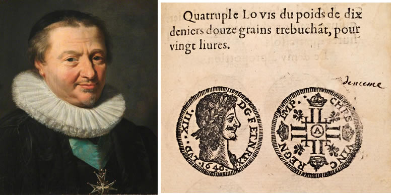 """Claude de Bullion & extrait d'un livre de changeur imprimé en 1644. La pièce ici désignée """"quadruple louis"""" est celle que nous appelons aujourd'hui double louis."""