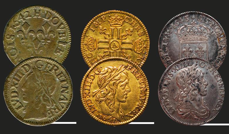 Double tournois frappé à La Rochelle en 1642 - Demi-louis d'or frappé à Paris en 1641. Au moment de sa création, cette pièce était appelée louis d'or - Quart d'écu d'argent au 2e poinçon de Varin frappé à Paris en 1643.