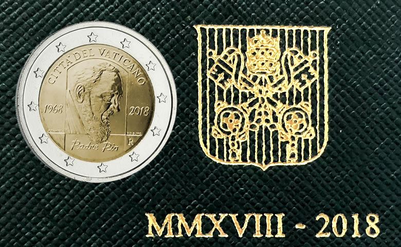 2 euros 2018 Vatican 50 Ans de la mort de Padre Pio