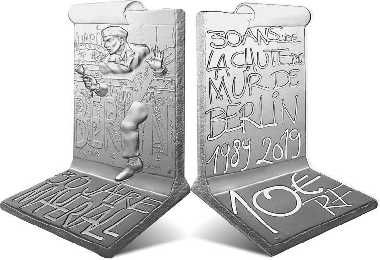 10 € Argent BE chute du mur de Berlin