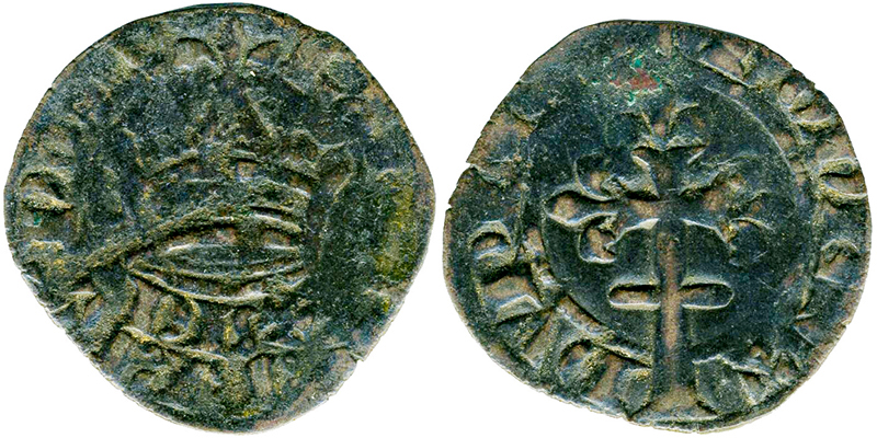 Imitation du double tournois du 11e type frappée en 1361.  Sous la couronne, le mot DUX (duc) remplace REX (roi). © Musée Dobrée - Nantes